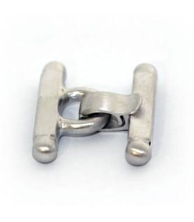 Stegschließe klein Silber rhodiniert satiniert  - 1
