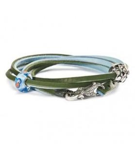 Leder-Armband grün/hellblau - retired Trollbeads - das Original - 1
