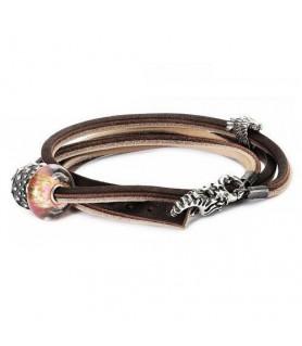 Leder-Armband braun/hellgrau Trollbeads - das Original - 1