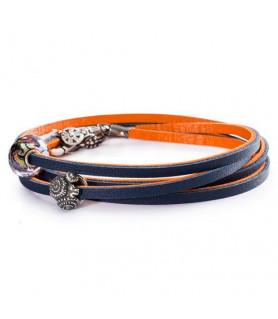 Leder-Armband orange/blau - retired Trollbeads - das Original - 1