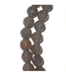 agate grey, spherical strand 6mm faceted  - 1